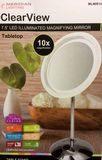 "Clearview 7.5"" LED Tabletop Illuminated Magnifying Mirror 10x Magnified MLMIR105"